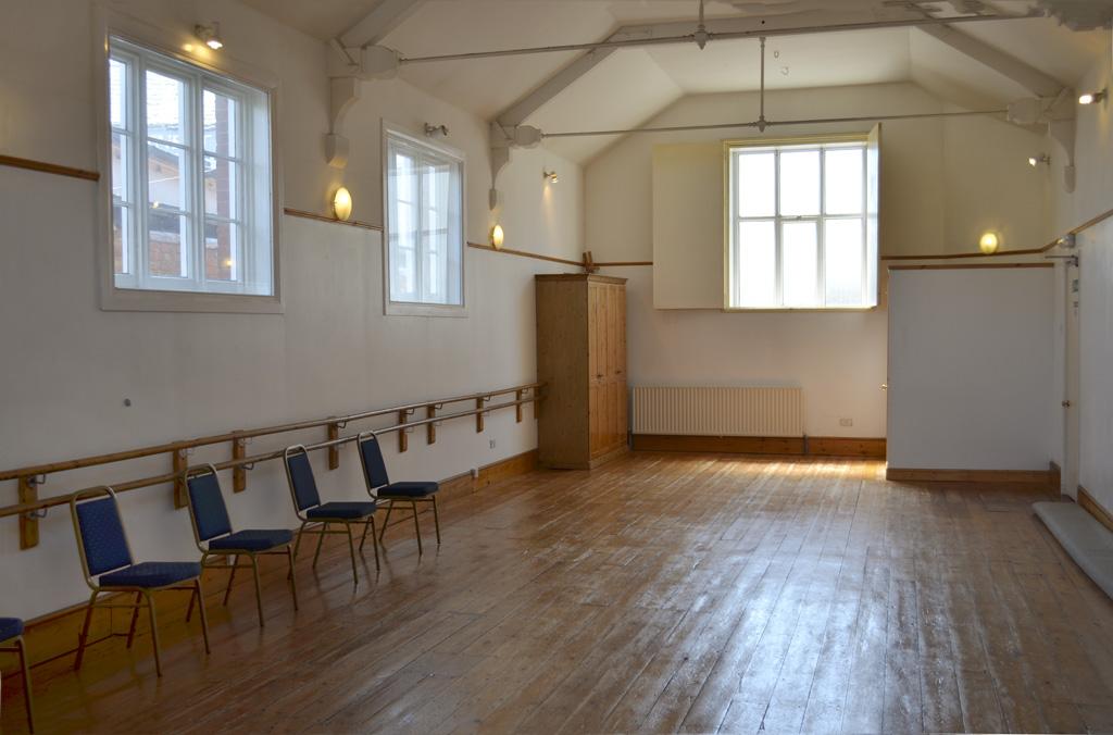 Hall 2:  42′ x 18′ (12.8 x 5.4 metres)